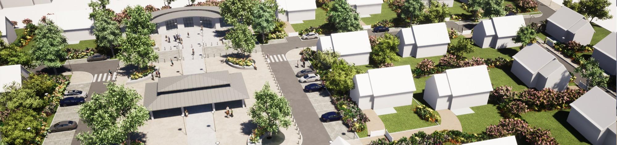 Aménagement urbain d'un lotissement et centre bourg